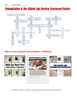 American Industrial Revolution and the Gilded Age Crossword Puzzle