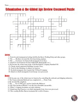 american industrial revolution and the gilded age crossword puzzle. Black Bedroom Furniture Sets. Home Design Ideas