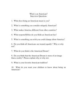 American Interview guidelines and questions