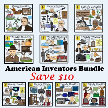 American Inventors Bundled Clip Art by Dandy Doodles