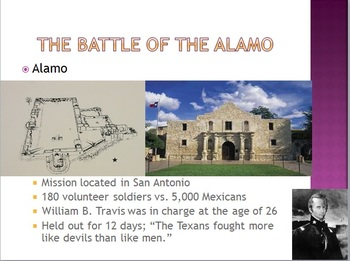 American Journey War with Mexico Alamo Chapter 12 Manifest
