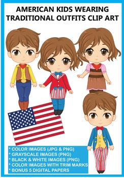 American Kids Traditional Outfits Clip Art 5 Digital Papers