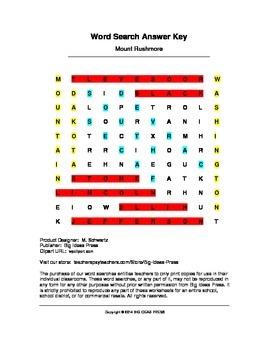 Mount Rushmore Word Search (Grades 2-4)
