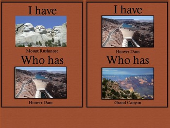 American Landmarks-I Have, Who Has