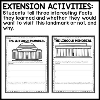 American Landmarks Reading Comprehension Bundle; Monuments, Memorials, Statue