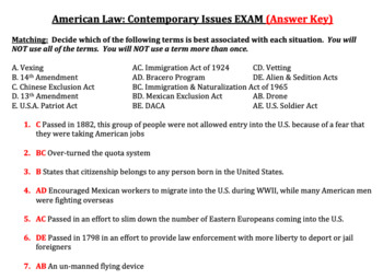 American Law: Contemporary Issues (Immigration & Terrorism) EXAM