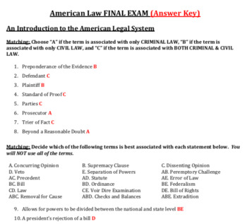American Law Final Exam & Key