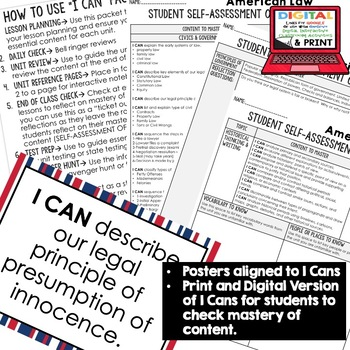 American Law I Cans & Posters, Self-Assessment of Mastery, CIVICS