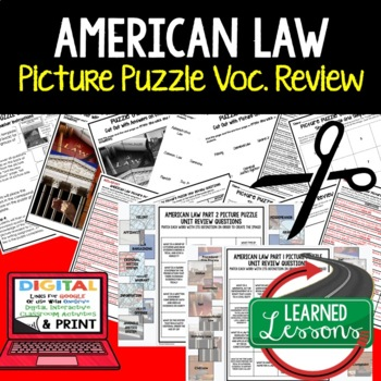 American Law Picture Puzzle Unit Review, Study Guide, Test Prep