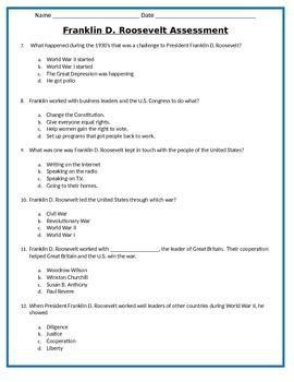 American Leaders ASSESSMENTS- 3rd Social Studies