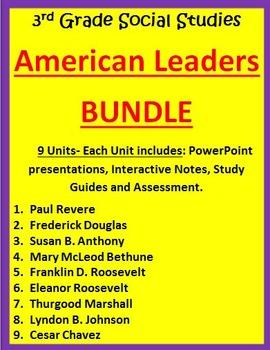 American Leaders BUNDLE - 3rd Grade Social Studies