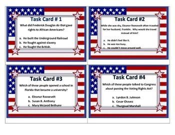 American Leaders TASK CARDS- 3rd Social Studies