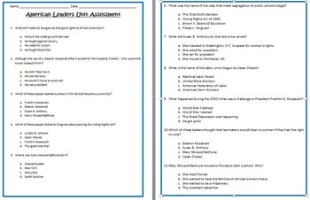 American Leaders UNIT ASSESSMENT-3rd Social Studies