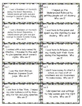 Grade 3 American Leaders Task Cards