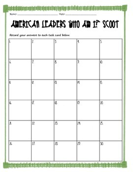 Grade 3 American Leaders Task Cards