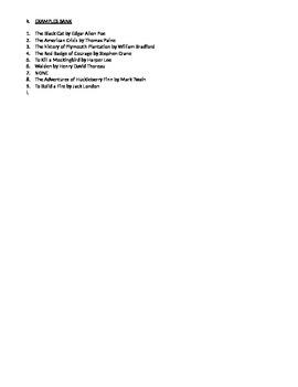 American Literary Periods Review Worksheet
