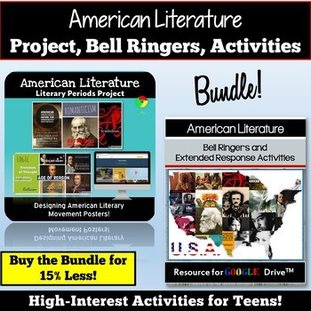 American Literature Bundle: American Lit Bell Ringers, Activities, Project