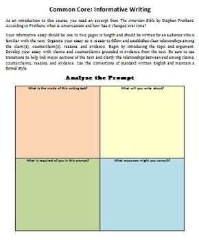 American Literature: Common Core Workshop (Reading Info Text and Writing Task)
