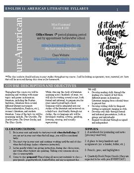 American Literature (English 11) Syllabus (Editable)