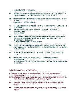 American Literature Midterm Semester Exam 130 Objective Questions Answer Key
