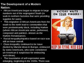 American Literature: Modernism 1914 to 1945 (Unit Overview/Intro PowerPoint)