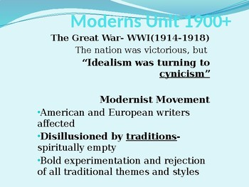 American Literature Moderns Literary Period