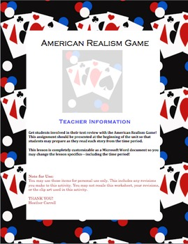 American Literature Realism: Student Review Project