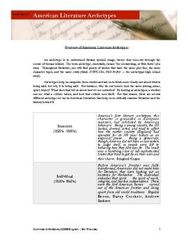 American Literature Resource -- American Literary Archetypes
