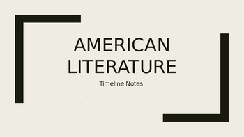 American Literature Timeline PPT