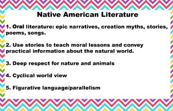 American Literature Timeline Posters bright chevron horizontal