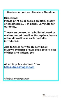 American Literature Timeline Posters large