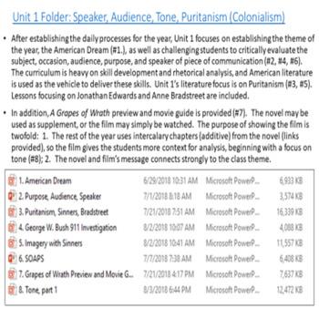 AP Language and Composition Unit: SOAPS, Rhetorical Analysis, Puritanism