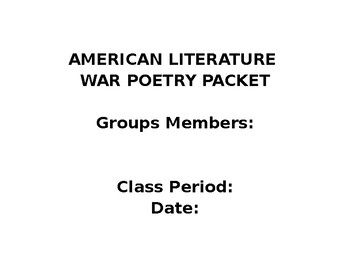 American Literature War Poetry Timeline Project