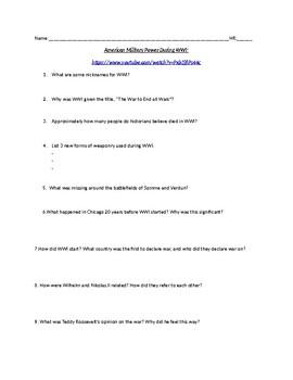 American Military Power WWI (Video Worksheet)