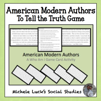 American Modern Authors Who Am I Role Cards for To Tell The Truth Game