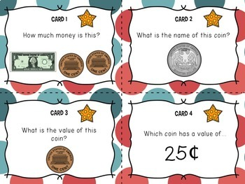 Math Center Task Cards, American Money