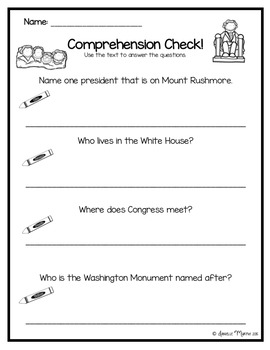 American Monuments Reader and Comprehension Check
