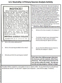 American Neutrality in WWI Primary Source Analysis Handout World War One 1