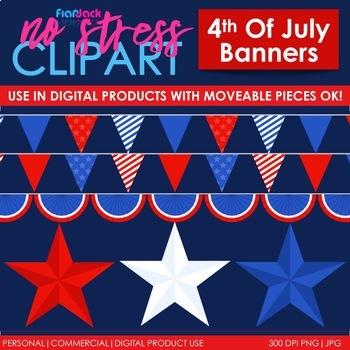 American Patriotic Banners Clip Art (Digital Use Ok!)