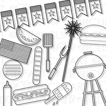 4th Of July Barbecue Clip Art Digital Use Ok By Flapjack
