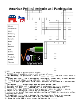 US Government: American Political Attitudes Crossword or W