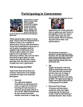 Informational Text - American Politics: Participating in G