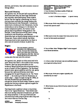Informational Text - American Politics: Political Attitudes (Sub Plans)