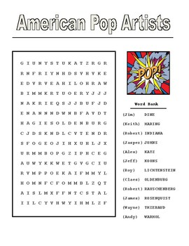 American Pop Artist Word Search