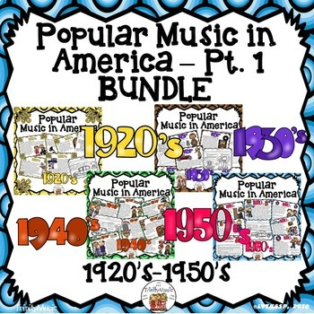 American Popular Music  Pt. 1 (1920's-1950's) Bundle