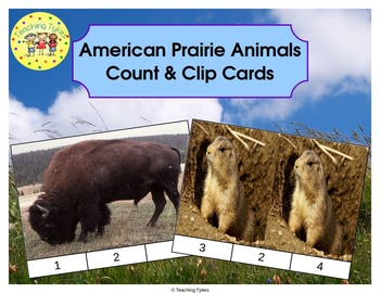 American Prairie Animals Count and Clip Task Cards