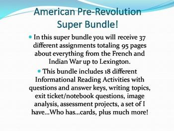 American Pre-Revolution Super Bundle: Save $30!! (No Prep/Sub Plans)