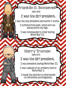 American Presidents Fact Cards