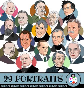 American Presidents Clip Art Portraits