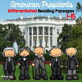 American Presidents Differentiated Reading Passages volume 1 bundle